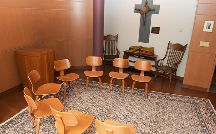 Individuals and groups of all faith traditions are invited to pray and meditate in the Knautz Prayer Chapel.