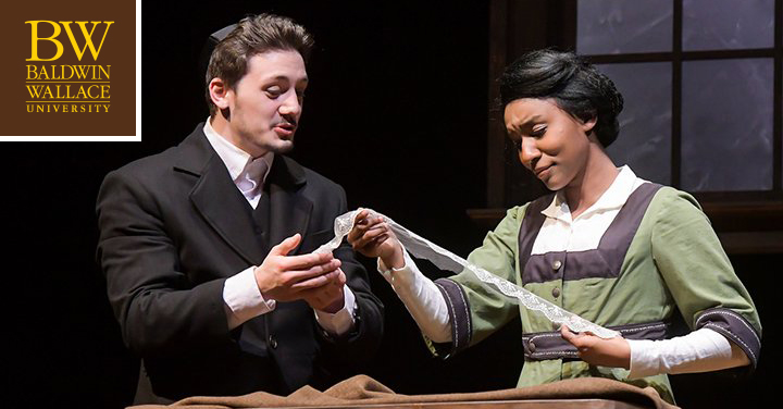 Two Baldwin Wallace acting students performing on stage