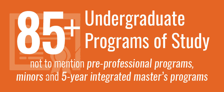 More than 80 undergraduate program of study, not to mention pre-professional programs, minors and 3-2 master's programs