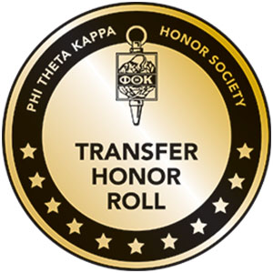 Phi Theta Kappa Honor Society Transfer Honor Roll badge image