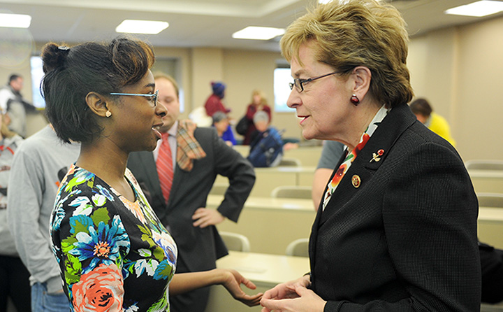 photo: Marcy Kaptur with BW student