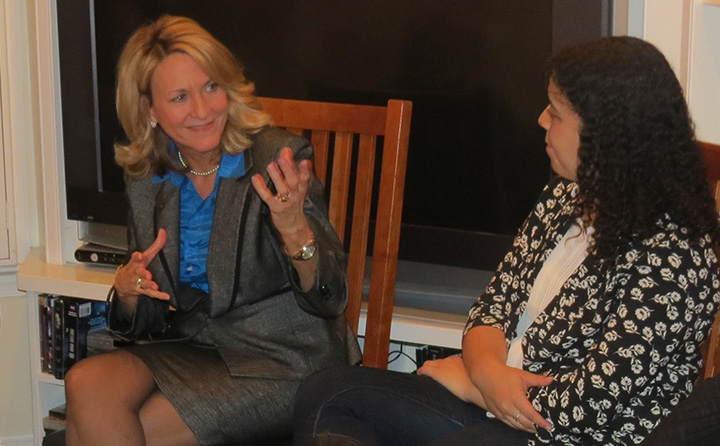 photo: Betty Sutton visits with BW students