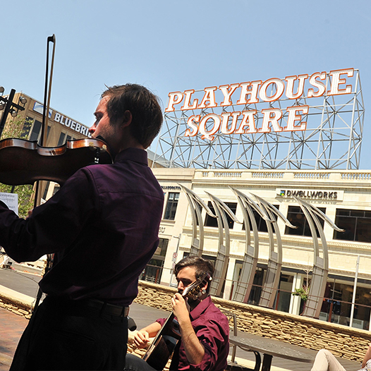 Students performing outside of Playhouse Square