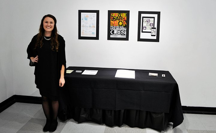 Students present their work at the BW Senior Graphic Design Showcase.