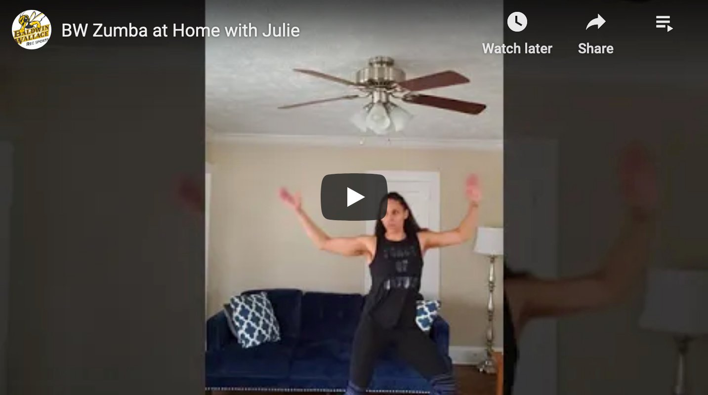 Video screenshot from BW Virtual Wellness Zumba Class