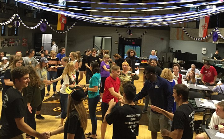 "Students dance to the ""Fliegerlied"" at the BW Oktoberfest."
