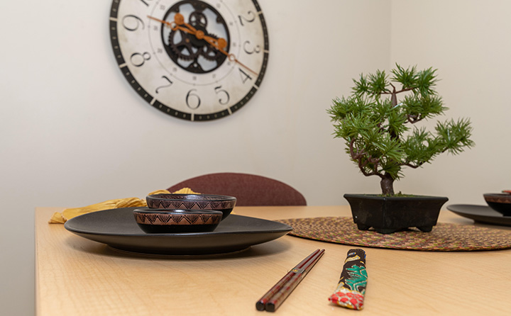 photo of graduate apartment dining room table