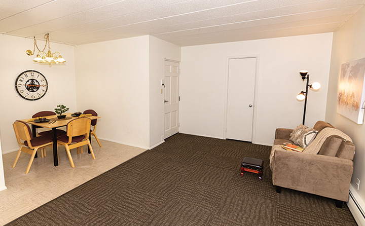 photo of apartment living room and dining room