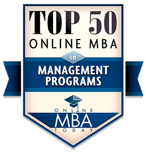 Online MBA Today: Top 50 Online MBA in Management Programs badge