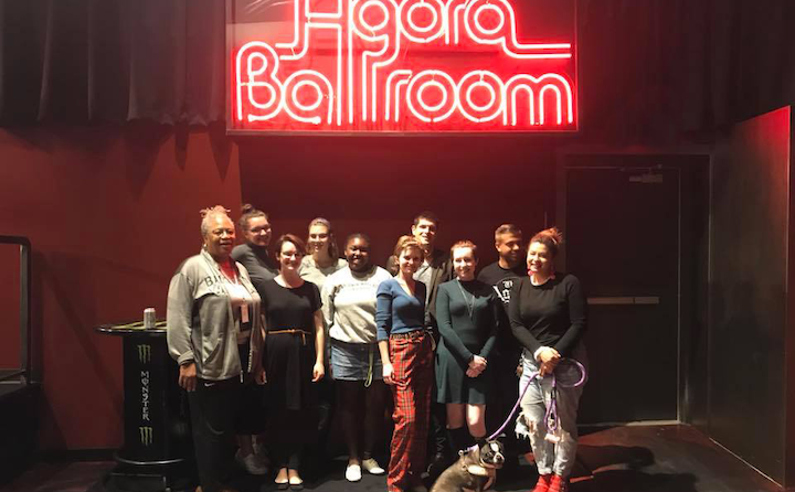 photo of students during a class visit to the historic Agora Theater and Ballroom.