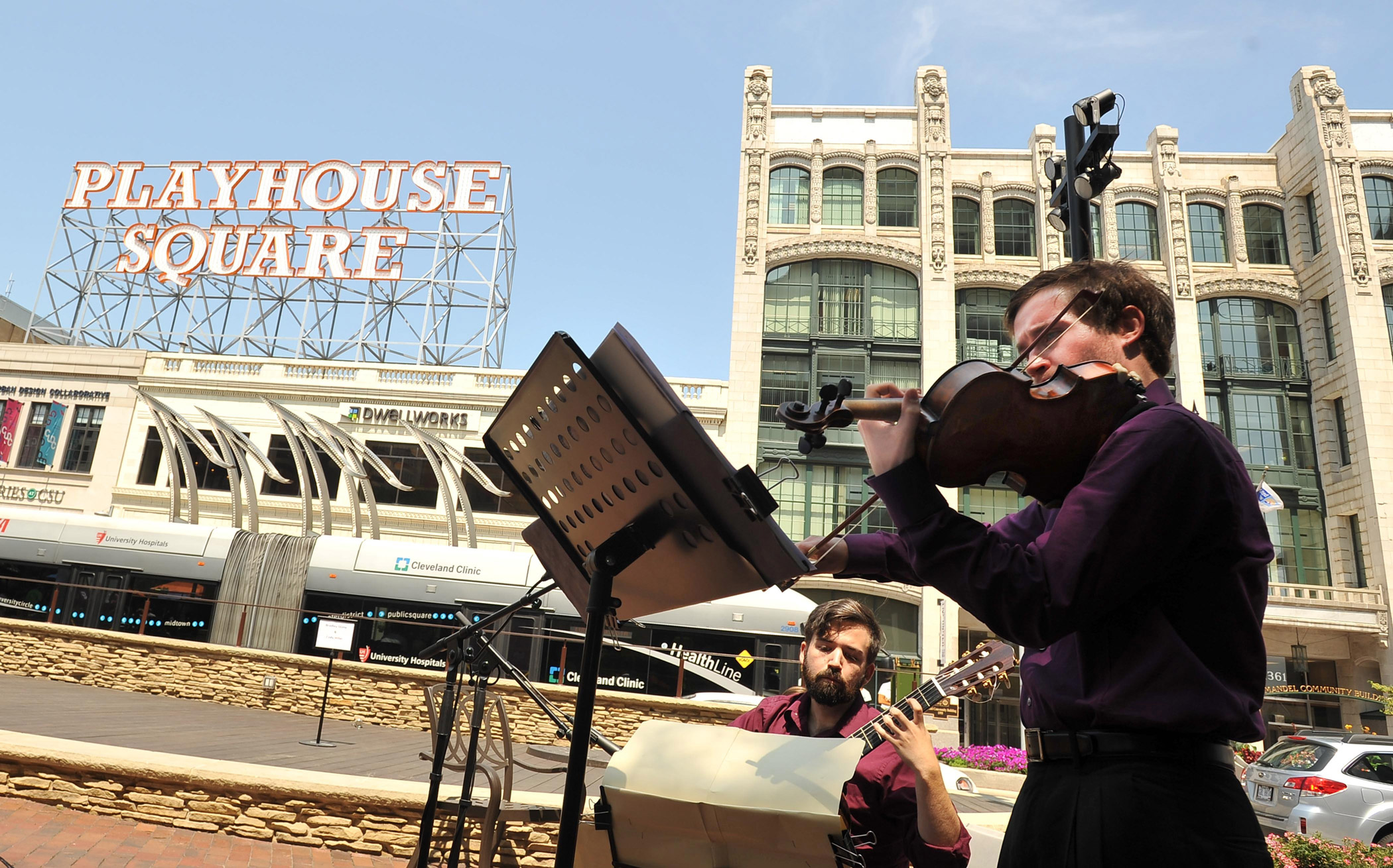 Music students perform downtown outside of playhouse square