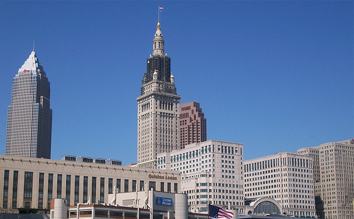 Photo of downtown Cleveland skyline