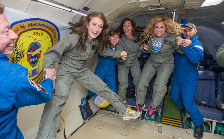 "Students float in zero gravity aboard NASA's ""Vomit Comet"""