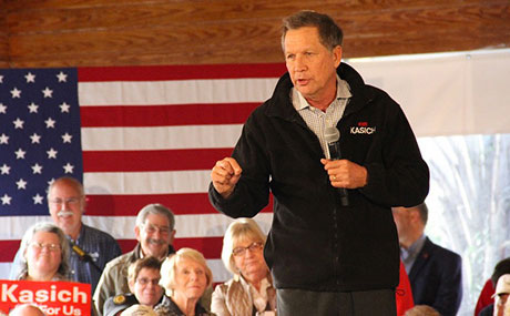 Ohio Governor John Kasich campaigns for President