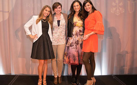 Rent the Runway and Komae co-founders celebrate Komae's pitch win in New York