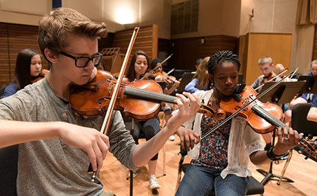 Strings campers at Baldwin Wallace University's newly named Community Music School