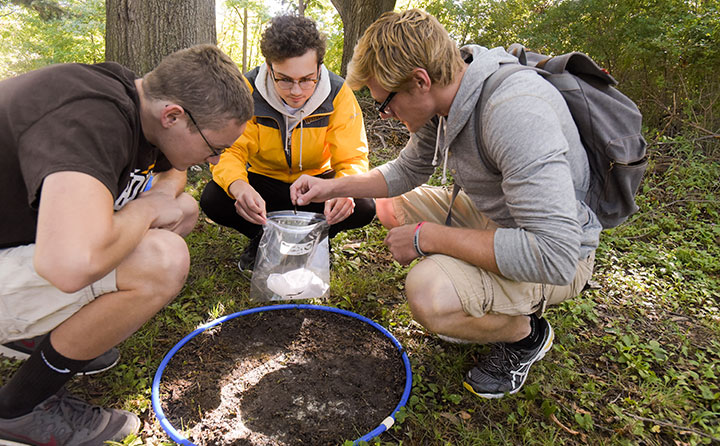 BW students collect earthworms near Wallace Lake
