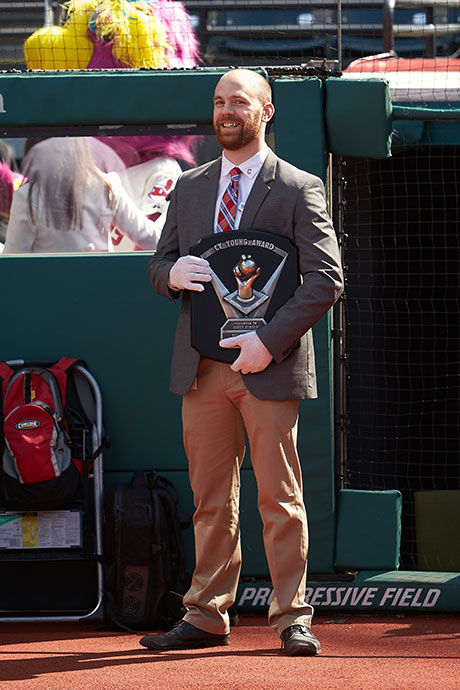 Jeremy Feador holds the Cy Young Award