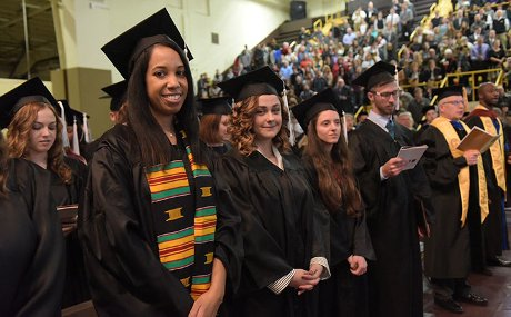 Students at fall 2016 commencement