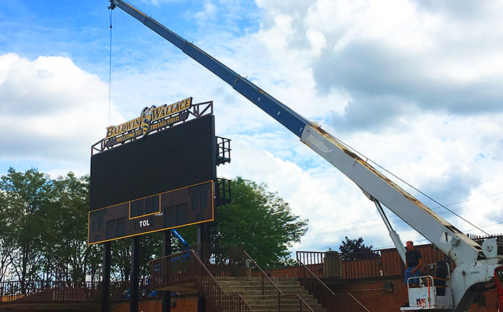 New state-of-the-art video scoreboard rises at Finnie Stadium