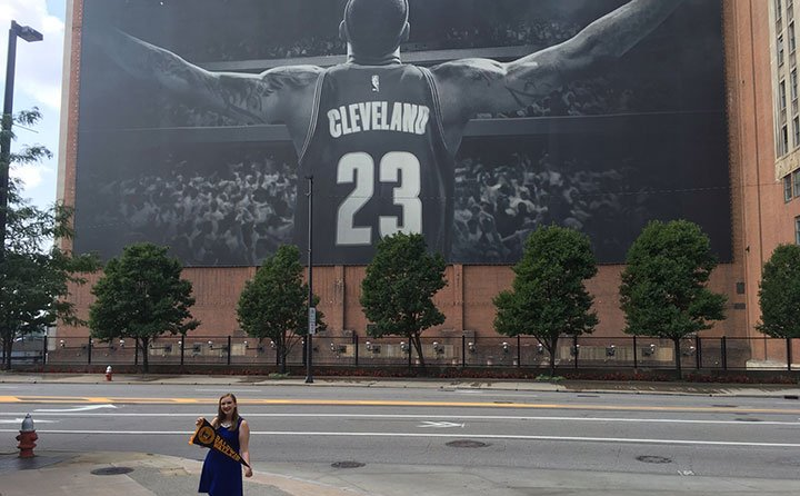 Gwyn Dubel shows off her BW pride outside Sherwin-Williams headquarters in Cleveland.