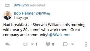 BW President Bob Helmer tweets about alumni breakfast at Sherwin-Williams.