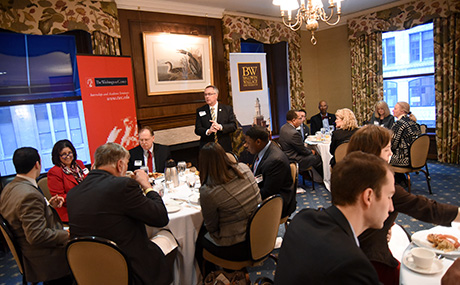 BW President Bob Helmer addresses Washington Center breakfast attendees