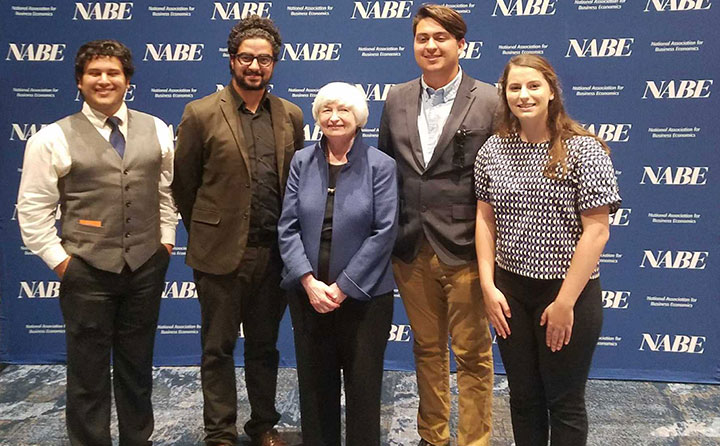 BW students with Fed Chair Janet Yellen at the NABE conference in Cleveland