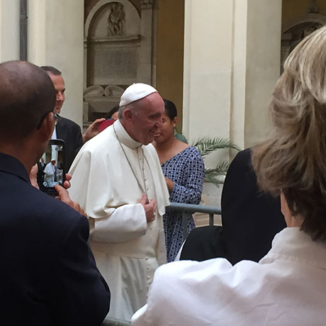 Fowler attended a vespers service presided over by Pope Francis and Justin Welby, the Archbishop of Canterbury (not pictured).