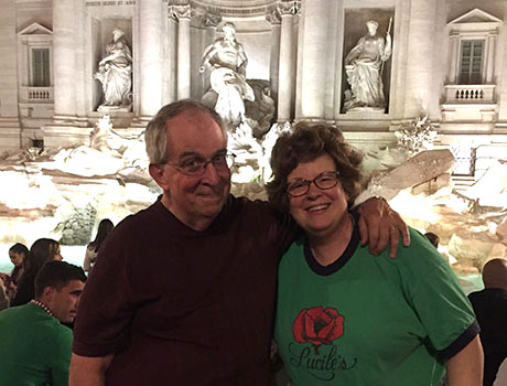 Fowler and his wife Debbie at Rome's Trevi Fountain