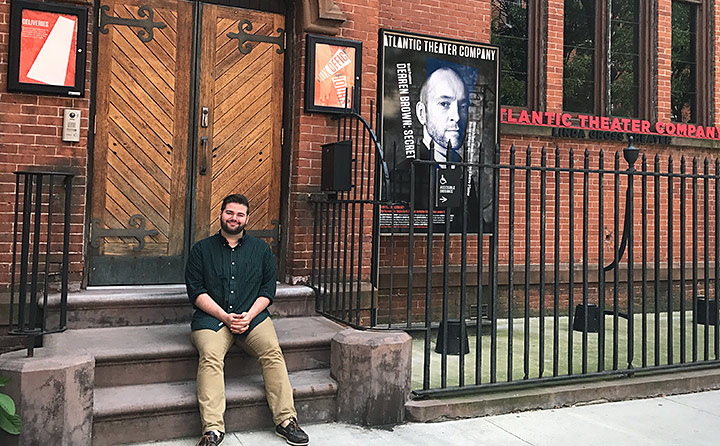 Photo of Matthew Sycle outside the Atlantic Theater Company