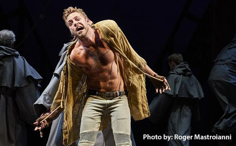 Broadway's Corey Mach '10 as Quasimodo in Hunchback of Notre Dame