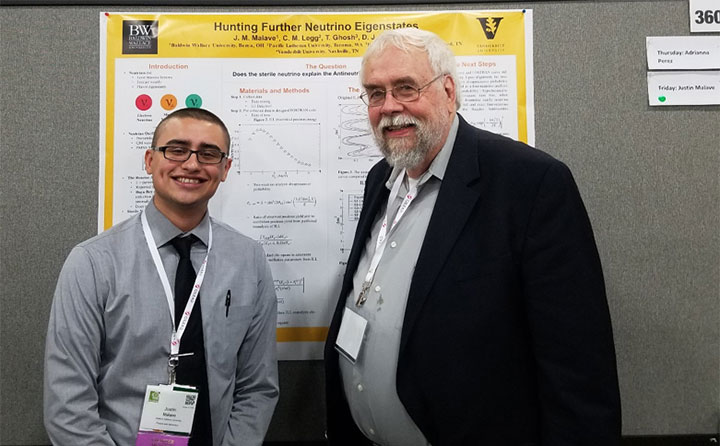 Justin Malave with his mentor, Dr. David Ernst, a theoretical physicist at Vanderbilt University