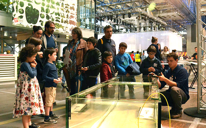 Gil Montague '16 demonstrates the Trident at a drone exhibition at the Cité des sciences et de l'industrie (the largest science museum in Europe) in Paris, France.