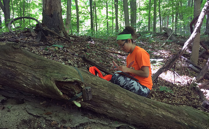 Senior biology major, Erica Morgan '18, of Brook Park removes videos of deer from a camera in the forest of the Richfield Heritage Preserve.