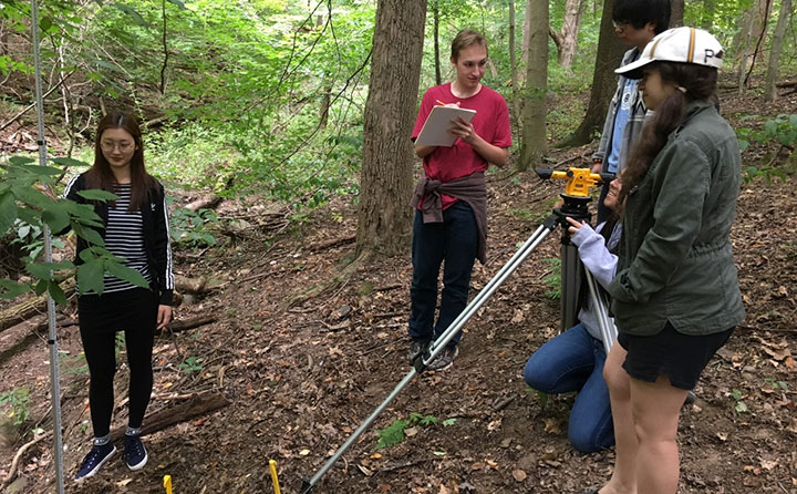 A group of BW geology students measure a stream cross-section to determine erosion hazards within the Richfield Heritage Preserve.