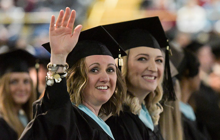 Happy graduates at the Baldwin Wallace University Fall 2017 Commencement