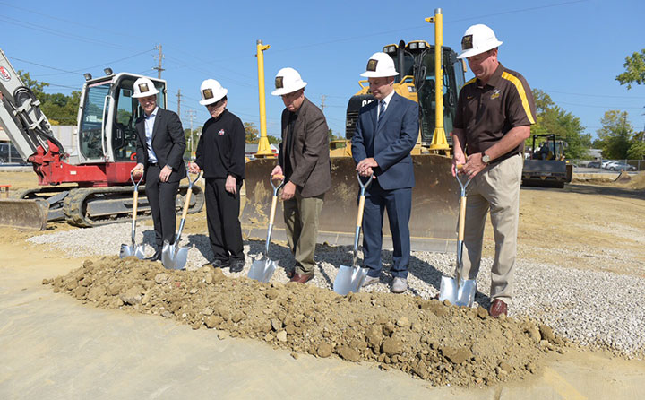 Officials from Baldwin Wallace, DiGeronimo Companies and the City of Berea break ground on the Front St. project