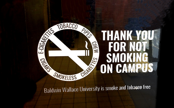 Window decal of no smoking sign
