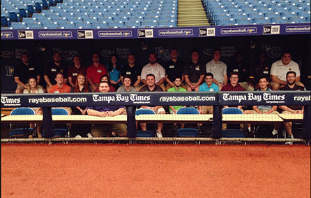 Sport management majors in Rays dugout