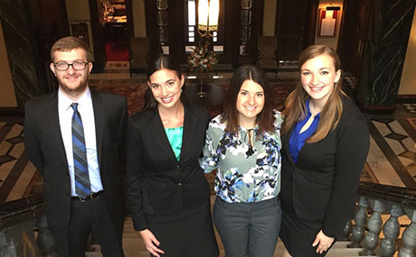 BW student consultants arrive at the Union Club in Cleveland for a client meeting