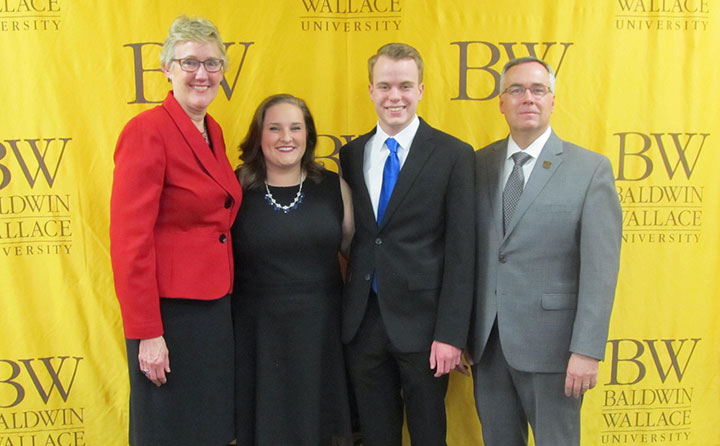 BW's new 2017 student body president and vice president flanked by Dr. Trina Dobberstein and BW President Bob Helmer