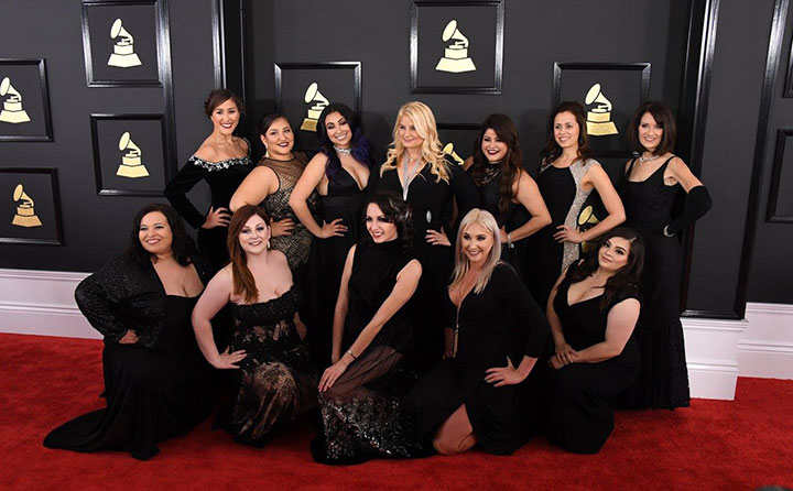 Felicia Rojas with the Mariachi Divas at the 2017 Grammys