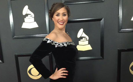 Felicia Rojas at the 2017 Grammys
