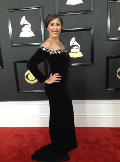 Felicia Rojas on the red carpet at the 2017 Grammys