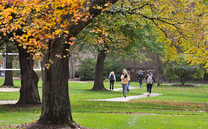 Students at Baldwin Wallace University wind their way past towering trees on the newly designated Tree Campus USA
