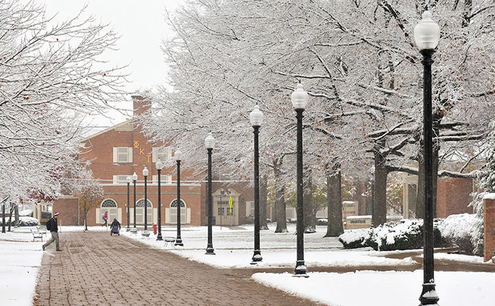 Baldwin Wallace University's Grand Street trees glisten with snow in wintertime