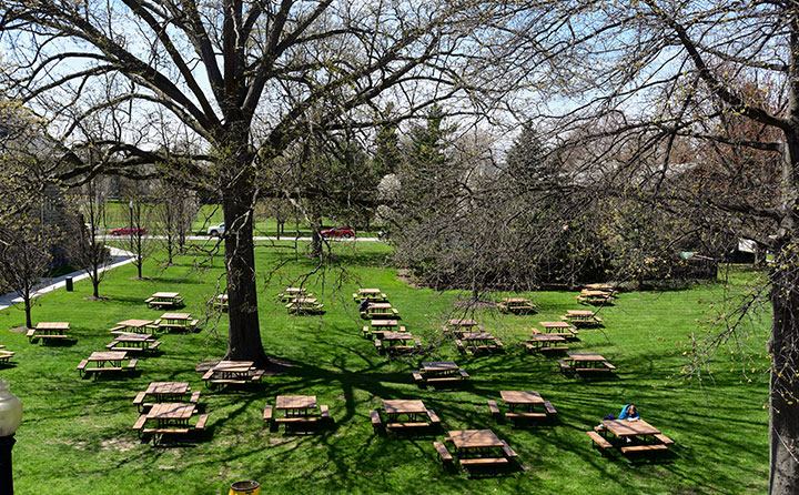 Tall trees tower over picnic tables on the west lawn of Baldwin Wallace University's Strosacker Hall union