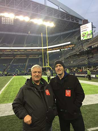 Brian Hill with his father Steve in Seattle with the Rams