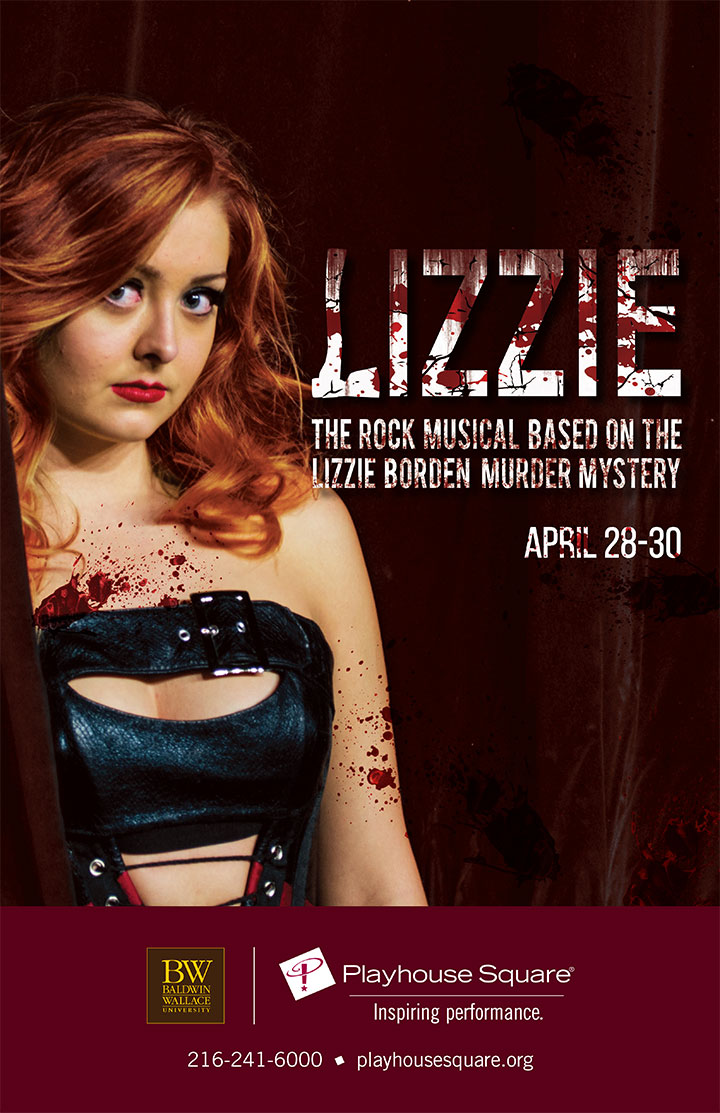 A poster promotes the return of the rock musical Lizzie to Playhouse Square